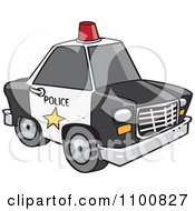 Clipart Cartoon Police Car With A Siren Cone On The Roof Royalty Free Vector Illustration