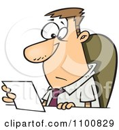 Clipart Businessman Seated At A Desk And Reading A Memo Royalty Free Vector Illustration