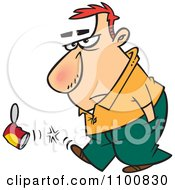 Clipart Cartoon Surly Man Kicking A Can Royalty Free Vector Illustration