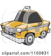Clipart Cartoon City Taxi Cab Royalty Free Vector Illustration by toonaday