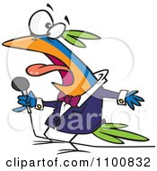Cartoon Vocal Singing Bird Holding A Microphone