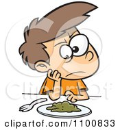 Clipart Cartoon Picky Eater Boy Staring Down Greens Royalty Free Vector Illustration