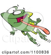 Green Happy Frog Leaping With His Tongue Hanging Out