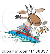 Clipart Fish Leaping Away From A Surfing Goat Royalty Free Vector Illustration