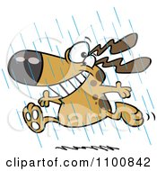 Clipart Happy Dog Running In The Rain During Spring Showers Royalty Free Vector Illustration by toonaday