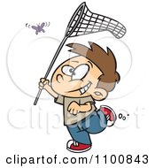 Clipart Happy Cartoon Boy Chasing A Butterlfy With A Net Royalty Free Vector Illustration