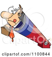 Clipart Businessman Holding His Briefcase And Prepared For Take Off In A Cannon Royalty Free Vector Illustration