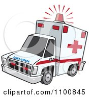 Clipart Emergency Ambulance With Lit Siren Light Royalty Free Vector Illustration