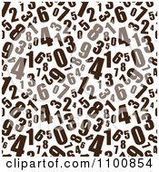 Seamless Background Pattern Of Brown Numbers On White