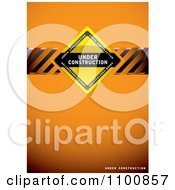 Clipart Orange Under Construction Background With A Sign And Hazard Stripes Royalty Free Vector Illustration by michaeltravers