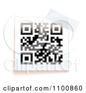 Clipart Black And White QR Code With Tape Royalty Free Vector Illustration by michaeltravers