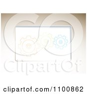 Clipart Beige Backgorund With Orange Green And Blue Gear Cogs Royalty Free Vector Illustration by michaeltravers