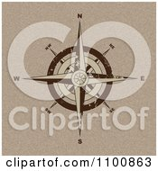 Clipart Brown Compass Rose Over Canvas Royalty Free Vector Illustration by michaeltravers