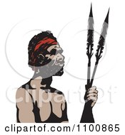 Australian Aboriginal Man Holding Spears