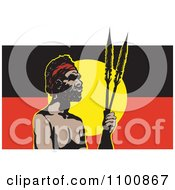 Aboriginal Man With Spears And An Australian Aboriginal Flag