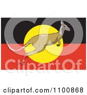 Clipart Kangaroo Leaping In Front Of An Australian Aboriginal Flag And Blending In With The Differnet Colors Royalty Free Vector Illustration by Dennis Holmes Designs