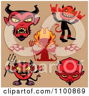 Clipart Red Devils Over Brown Royalty Free Vector Illustration by John Schwegel