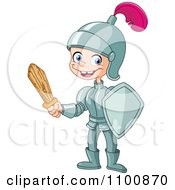 Clipart Happy Knight Boy Holding A Wooden Sword Royalty Free Vector Illustration