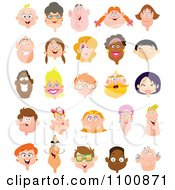 Clipart Happy Diverse Faces Royalty Free Vector Illustration by yayayoyo