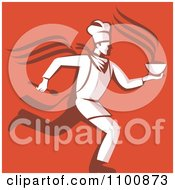 Clipart Retro Chef Running With Hot Soup Over Orange Red Royalty Free Vector Illustration