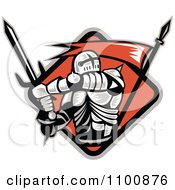 Clipart Retro Crusader Knight With A Sword And Red Flag In A Diamond Royalty Free Vector Illustration