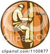 Clipart Retro Linesman Scaling A Pole In An Orange Circle Royalty Free Vector Illustration by patrimonio