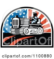 Clipart Retro Farmer Operating A Tractor With American Stars And Stripes Royalty Free Vector Illustration