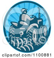Clipart Retro Farmer Operating A Tractor In A Blue Circle Royalty Free Vector Illustration