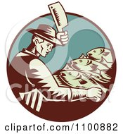 Clipart Retro Fishmonger Butchering Fish With A Cleaver Knife Royalty Free Vector Illustration