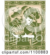Clipart Retro Green Organic Farmer Carrying Fresh Produce In A Bowl With An Ornate Frame Royalty Free Vector Illustration