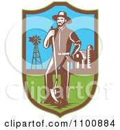 Clipart Retro Farmer With A Shovel Windmill And Barn In A Shield Royalty Free Vector Illustration