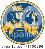 Clipart Retro Construction Worker Holding A Hammer In A Blue Circle Royalty Free Vector Illustration