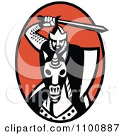 Clipart Retro Knight Holding Up A Sword And Charging On Horseback Over A Red Oval Royalty Free Vector Illustration