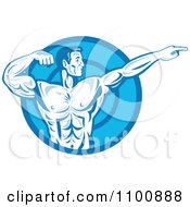 Clipart Blue Retro Bodybuilder Flexing And Pointing Over A Blue Circle Royalty Free Vector Illustration