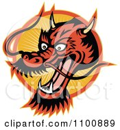 Clipart Retro Chinese Dragon Head Over An Orange Circle Of Rays Royalty Free Vector Illustration
