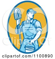 Clipart Blue Retro Janitor Holding A Mop And Bucket Over A Yellow Oval Royalty Free Vector Illustration
