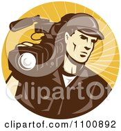 Clipart Retro Camera Man In Brown Uniform Logo Royalty Free Vector Illustration