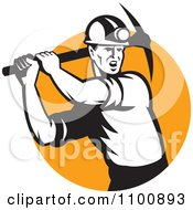 Clipart Retro Coal Miner Swinging A Pick Ax Over An Orange Circle Royalty Free Vector Illustration