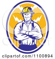 Retro Electrician Or Construction Worker With Folded Arms Over An Oval Of Bolts