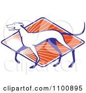 Clipart Retro Greyhound Dog In Profile Over A Diamond Of Orange Rays Royalty Free Vector Illustration by patrimonio