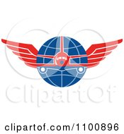 Clipart Retro Jumbo Jet Airplane Over A Grid Globe With Red Wings Royalty Free Vector Illustration