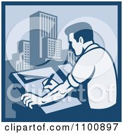 Clipart Blue Retro Architect Draftsman Sketching Skyscrapers Royalty Free Vector Illustration by patrimonio