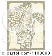 Teotihuancan Aztec Maya Olmec Warrior In Brown And Beige