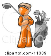 Orange Man Standing By His Golf Clubs