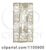 Mayan God Holding A Bowl And Standing On A Servant Brown And Beige