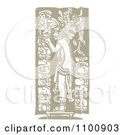 Clipart Mayan King Smoking A Pipe Brown And Beige Royalty Free Vector Illustration