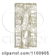Clipart Mayan King Standing With Totems Brown And Beige Royalty Free Vector Illustration