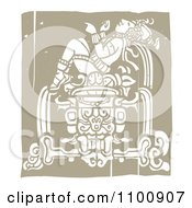 Clipart Mayan King Reclined On A Pedestal Brown And Beige Royalty Free Vector Illustration