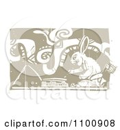 Mayan Rabbit Artist Painting Brown And Beige