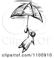 Clipart Woodcut Black And White Style Girl Flying With An Umbrella In The Sky Royalty Free Vector Illustration